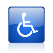 Accessibility blue square glossy web icon on white background — Stock Photo