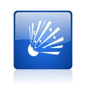 Bomb blue square glossy web icon on white background — Stock Photo