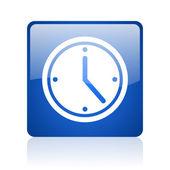 часы синий квадрат глянцевый web значок на белом фоне — Стоковое фото