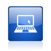 Notebook blue square glossy web icon on white background — Stock Photo