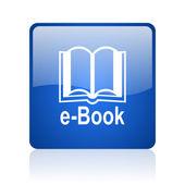 E-book blue square glossy web icon on white background — Stock Photo