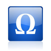 Omega blue square glossy web icon on white background — Stock Photo