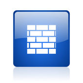 Firewall blue square glossy web icon on white background — Stock Photo