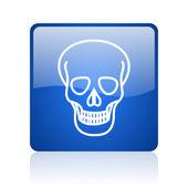 头骨蓝色方形光泽 web 图标在白色背景上 — 图库照片