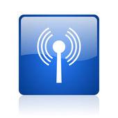 Wifi blue square glossy web icon on white background — Stock Photo