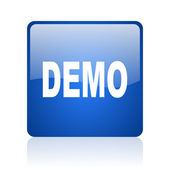 Demo blue square glossy web icon on white background — Stock Photo