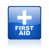 First aid blue square glossy web icon on white background — Stock Photo