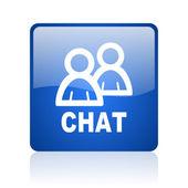 Chat blauwe vierkant glanzend web pictogram op witte achtergrond — Stockfoto