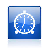 Alarm clock blue square glossy web icon on white background — Stock Photo