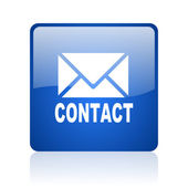 Contact blue square glossy web icon on white background — Stock Photo
