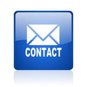 Kontakta blå fyrkantiga glansigt spindelväv ikonen på vit bakgrund — Stockfoto