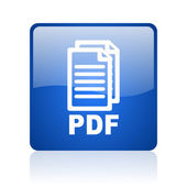 Pdf blue square glossy web icon on white background — Stock Photo