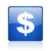 Us dollar blue square glossy web icon on white background — Stock Photo