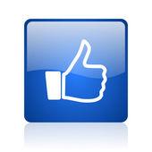 Daumen sie blau quadratisch glänzend web-symbol auf weißem hintergrund — Stockfoto