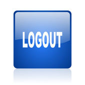 Logout blue square glossy web icon on white background — Stock Photo