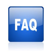 Faq blue square glossy web icon on white background — Stock Photo