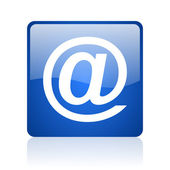 At blue square glossy web icon on white background — Stock Photo