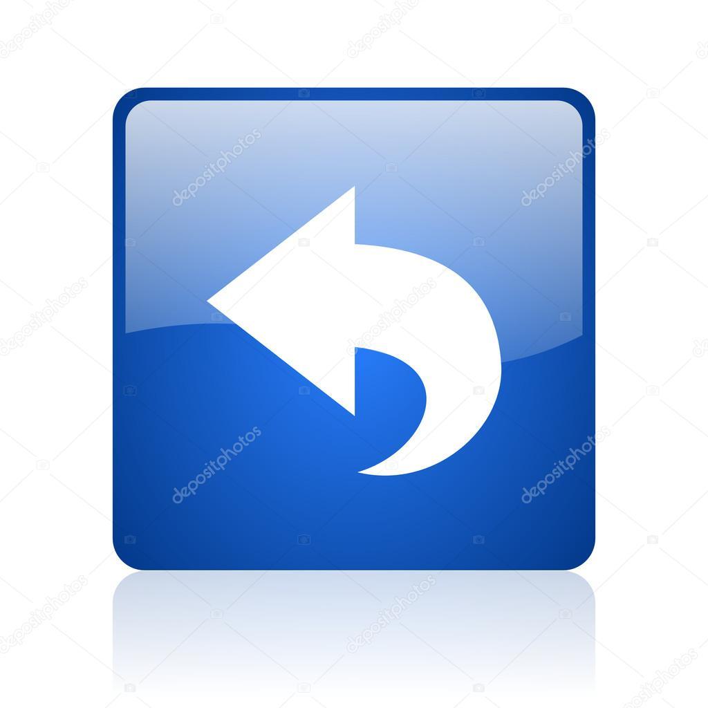 回来在白色背景上的蓝色方形光泽 web 图标