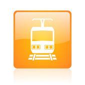 Train orange square glossy web icon — Stock Photo