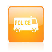 Police orange square glossy web icon — Stock Photo