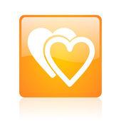 Love orange square glossy web icon — Stock Photo