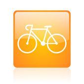 Bicycle orange square glossy web icon — Stock Photo