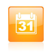Calendar orange square glossy web icon — Stock Photo