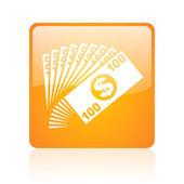 Money orange square glossy web icon — Stock Photo