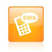 Sms orange square glossy web icon — Stock Photo