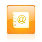 Address book orange square glossy web icon — Stock Photo