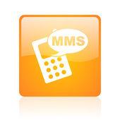 正方形の mms のオレンジ光沢があるウェブ アイコン — ストック写真