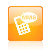 Mms orange square glossy web icon — 图库照片