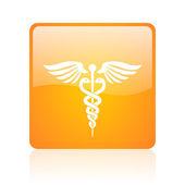 Caduceus orange square glossy web icon — Stock Photo