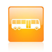 Bus orange square glossy web icon — Stock Photo