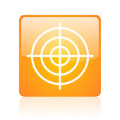 Target orange square glossy web icon — Stock Photo