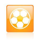 Soccer orange square glossy web icon — Stock Photo