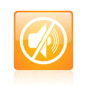 Mute orange square glossy web icon — Stock Photo