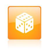 Dice orange square glossy web icon — Stock Photo