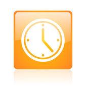 часы оранжевый квадрат глянцевый web значок — Стоковое фото