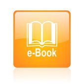 E-book orange square glossy web icon — Stock Photo