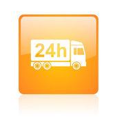 Delivery 24h orange square glossy web icon — Stock Photo