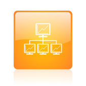 Network orange square glossy web icon — Stock Photo