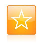 Star orange square glossy web icon — Stock Photo