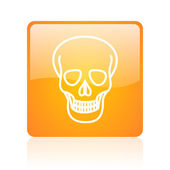 Skull orange square glossy web icon — Stock Photo
