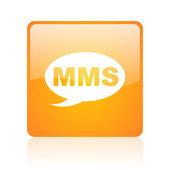 Mms оранжевый квадрат глянцевый web значок — Стоковое фото
