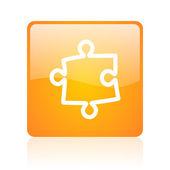 Puzzle orange square glossy web icon — Stock Photo