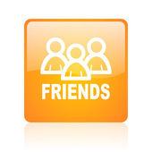 Friends orange square glossy web icon — Stock Photo