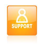 Support orange square glossy web icon — Stock Photo