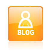 Blog orange square glossy web icon — Stock Photo