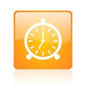 Alarm clock orange square glossy web icon — Stock Photo